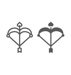 cupid bow line and glyph icon love and valentine vector image