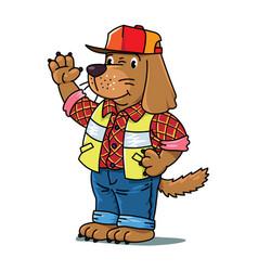 Dog driver animals and professions abc alphabet d vector