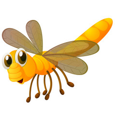 Dragonfly in yellow color vector