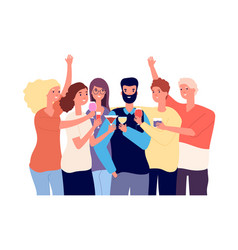 Drinking friends group funny guys clink vector
