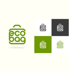 eco bag logo consisting shopping bag vector image