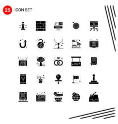 Editable line pack 25 simple solid glyphs vector