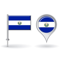 El Salvador pin icon and map pointer flag vector