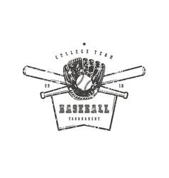 emblem baseball college team vector image