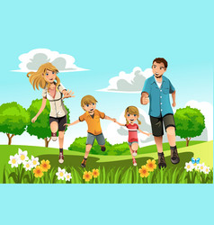 Family running in park vector