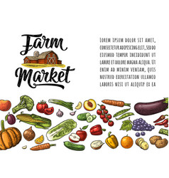 Farm market calligraphic lettering with hangar vector