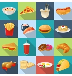 Fast food square icon set vector