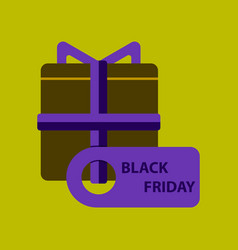 flat icon of gift box black friday vector image