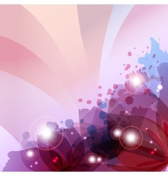 Flower in colorful ink splattered pink background vector