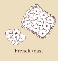French toast in cartoon style vector