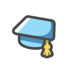 graduation blue cap icon cartoon vector image