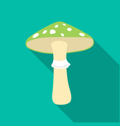 Green amanita icon in flat style isolated on white vector