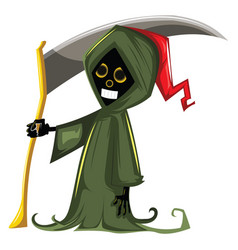 grim reaper in green suit illsutration on white vector image