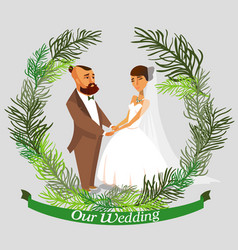 groom and bride color characters vector image