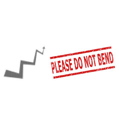 grunge please do not bend stamp and halftone vector image