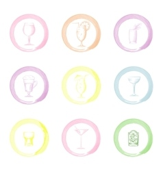 Hand drawn drinks icons vector image