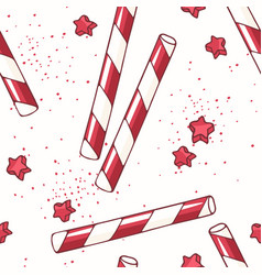 hand drawn seamless pattern with straws vector image