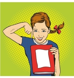 Happy girl hold a book in her hands vector image