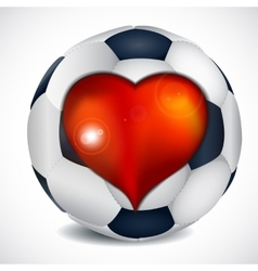Heart and football ball vector
