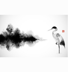 heron and misty island with forest trees vector image