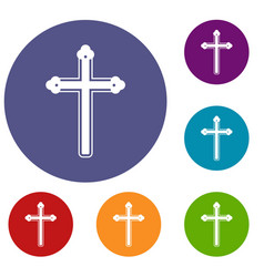 holy cross icons set vector image