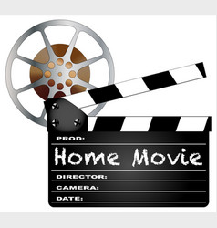 home movie clapperboard and reel vector image