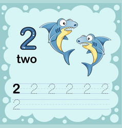 How to count and write a number two shark vector