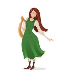 irish girl in a green dress with a harp cartoon vector image
