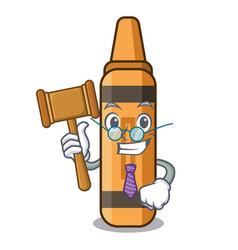 Judge orange crayon in a cartoon wallet vector