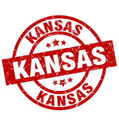 Kansas red round grunge stamp vector