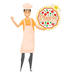 Kitchener and pizza sign culinary label vector