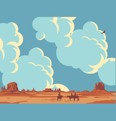 Landscape with cloudy sky and cowboys vector