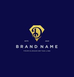 Letter d diamond gold logo design vector