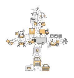 logistics concept flat line art vector image