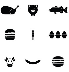 meat icon set vector image