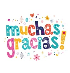 Muchas gracias many thanks in Spanish card vector