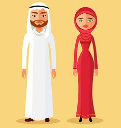muslim couple in flat cartoon style vector image