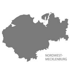 nordwestmecklenburg grey county map of vector image