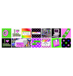 Old computer aesthetic 1980s -1990s square vector