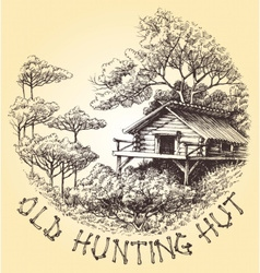 Old hunting hut in the woods round decoration vector image