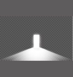 open the door in a dark room with light passing vector image