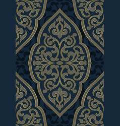 Oriental blue and grey ornament vector