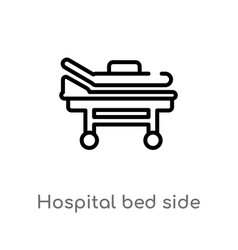 Outline hospital bed side view icon isolated vector