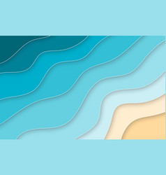 paper cut style blue sea and beach summer vector image