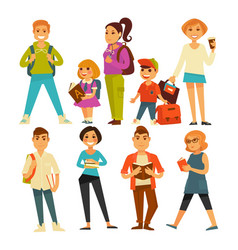 People various ages with books and bags vector