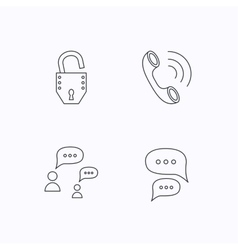 Phone call chat speech bubbles and lock icons vector image
