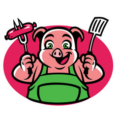 Pig character holding the bbq fork and sausage vector