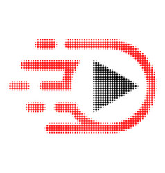 play media halftone dotted icon with fast rush vector image
