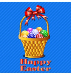 postcard with Easter eggs in the basket on a blue vector image