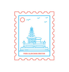 pura ulun danu bratan postage stamp blue and red vector image